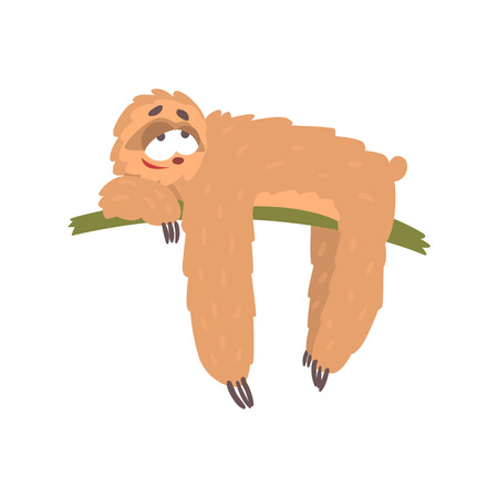 Cute happy cartoon lazy sloth character lying on the tree, funny tropical animal vector Illustration Çizim