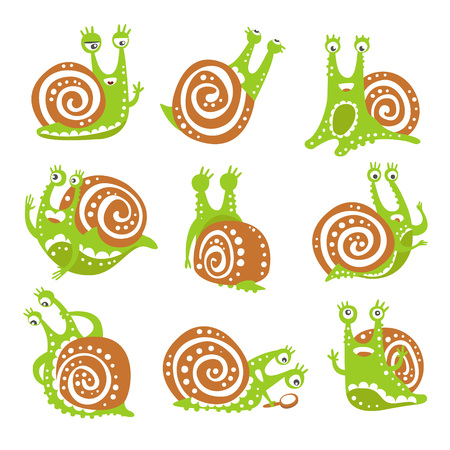 Cute snail character set, funny mollusk with different emotions colorful hand drawn vector Illustrations Illustration