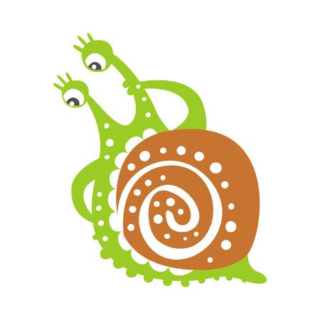 귀여운 사려 깊은 달팽이 캐릭터, 재미 mollusk 다채로운 손으로 그린 벡터 일러스트 레이션
