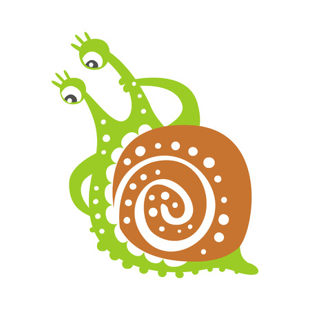 Cute thoughtful snail character, funny mollusk colorful hand drawn vector Illustration Illustration