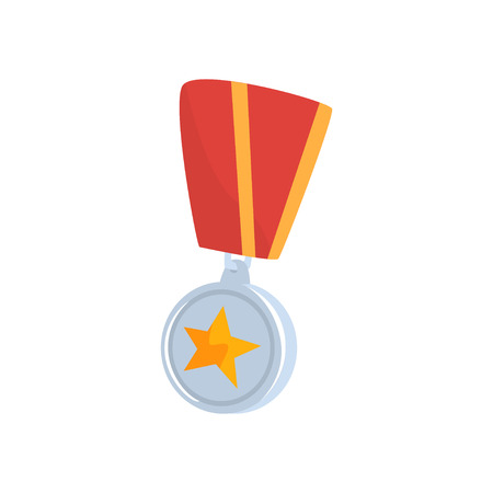 Golden star medal with red ribbon cartoon vector Illustration Illustration