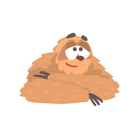 Cute cartoon smiling sloth character lying, funny tropical animal vector Illustration