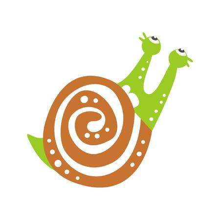 Personnage d'escargot mignon en levant, vecteur de dessinés à la main coloré mollusque drôle Illustration Banque d'images - 86098843