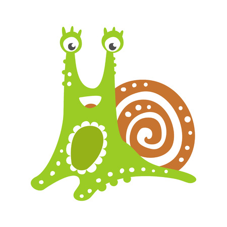 Cute friendly snail character, funny mollusk colorful hand drawn vector Illustration