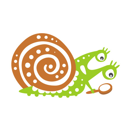 Cute snail character with magnifying glass, funny mollusk colorful hand drawn vector Illustration