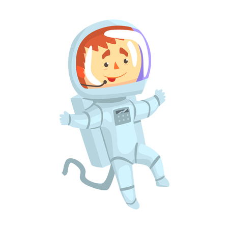 Male cosmonaut or astronaut in a white space suit cartoon vector Illustration