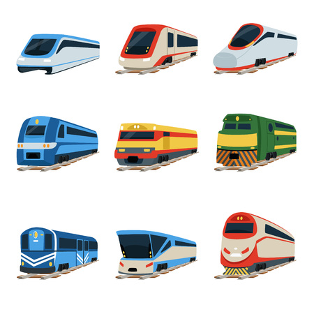 Treinlocomotief set, spoorwagon vectorillustraties Stock Illustratie