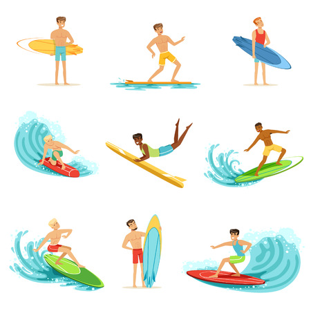 Surfboarders riding on waves set, surfer men with surfboards in different poses vector Illustrations Illustration