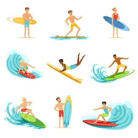 Surfboarders rijden op golven set, surfer mannen met surfplanken in verschillende poses vector illustraties