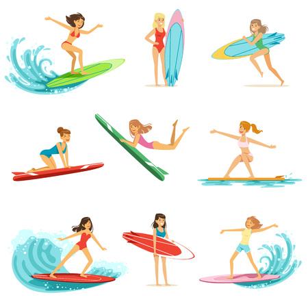 De surfermeisjes die op geplaatste golven berijden, surfboarders in verschillend stellen vectorillustraties Stock Illustratie