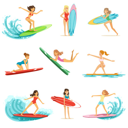 Surfer girls riding on waves set, surfboarders in different poses vector Illustrations