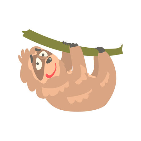 Cute cartoon sloth character hanging on the tree, funny tropical animal vector Illustration