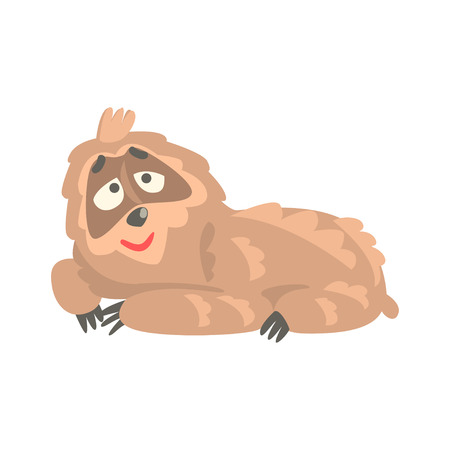 Cute cartoon sloth character lying on the floor, funny tropical animal vector Illustration
