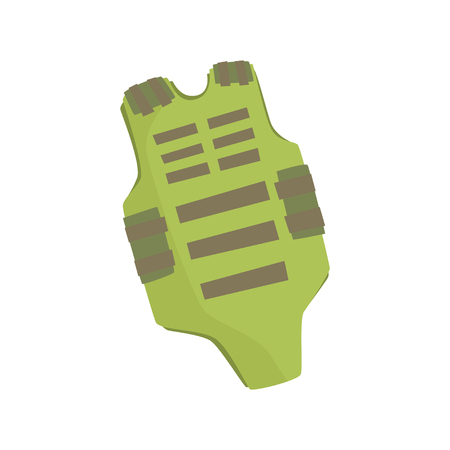 Green bulletproof vest cartoon vector Illustration