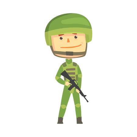 迷彩ユニフォーム自動攻撃用ライフル漫画ベクトル図で兵士文字