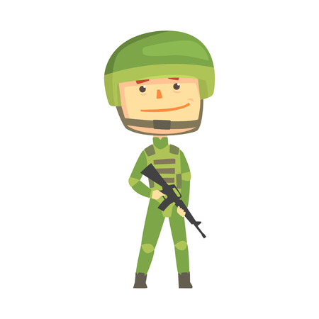 Soldier character in camouflage uniform with automatic assault rifle cartoon vector Illustration Ilustração