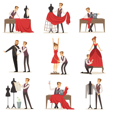 Dressmaker set, male designer tailoring measuring and sewing for his customers vector Illustrations Иллюстрация