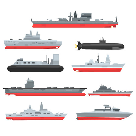 Different types of naval combat ships set, military boats, ships, frigates, submarine vector Illustrations
