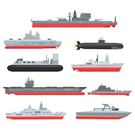 Verschiedene Arten von Marinekampfschiffen eingestellt, Militärboote, Schiffe, Fregatten, U-Boot-Vektor-Illustrationen