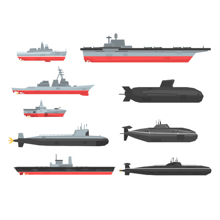 Naval combat ships set, military boats, ships, submarine vector Illustrations Ilustração