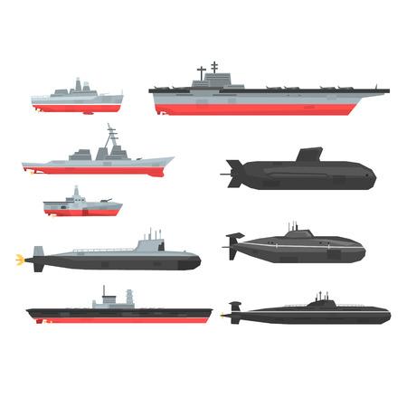 Naval combat ships set, military boats, ships, submarine vector Illustrations Vettoriali