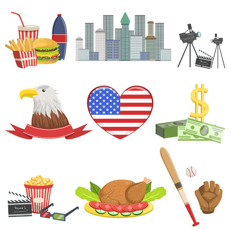USA national symbols set, american attractions vector Illustrations
