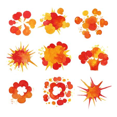 Explosions set, fire burst effect watercolor vector Illustrations