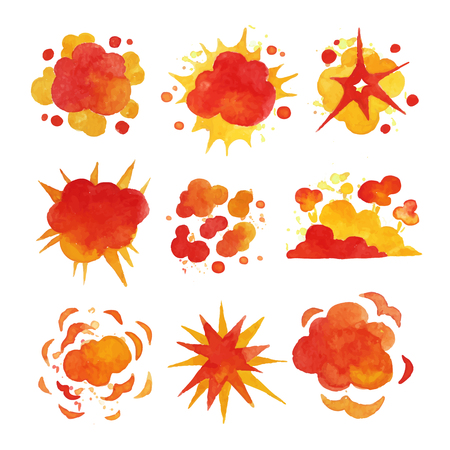 Explosions set, fire explosion effect watercolor vector Illustrations Stock Vector - 86098875