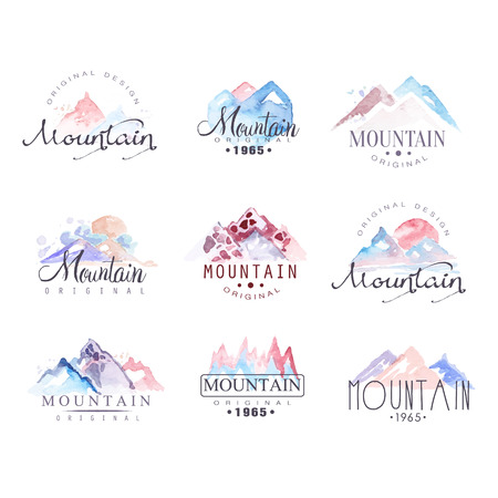 Mountain original logo design watercolor vector Illustrations set
