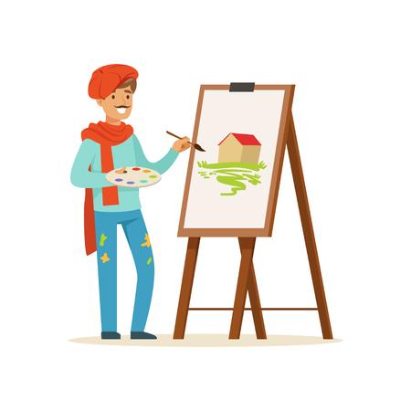 붉은 베레모를 쓰고있는 콧수염과 남성 화가 아티스트 캐릭터 이젤 벡터 근처 풍경 서있는 그림
