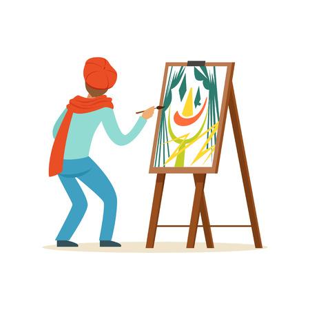 Carácter masculino del artista del pintor que lleva la pintura roja de la boina con la paleta colorida que se coloca cerca del ejemplo del vector del caballete