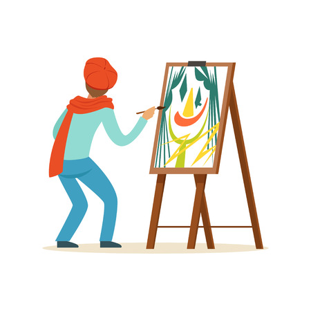 Männlicher Malerkünstlercharakter, der die rote Barettmalerei mit der bunten Palette steht nahe Gestellvektor Illustration trägt