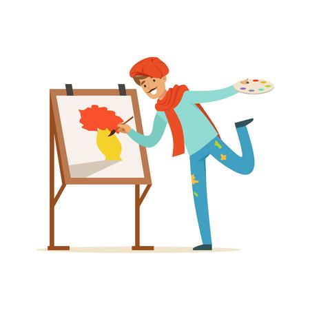 콧수염을 가진 남성 화가 예술가는 빨간 베레 그림 젤 이젤 근처에 서있는 꽃의 그림을 입고