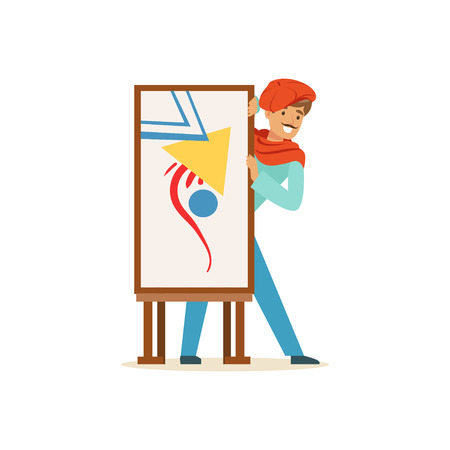 Smiling male painter artist character wearing red beret presenting his painting vector Illustration Imagens - 86158158