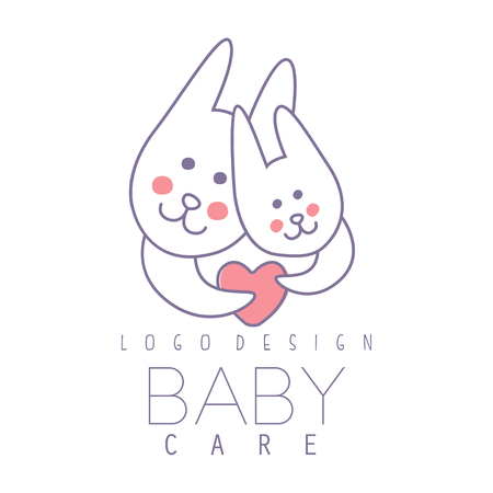Baby care logo design, emblem with two cute bunnies with heart, label for kids club, baby or toys shop and any other children projects colorful vector Illustration Ilustracja