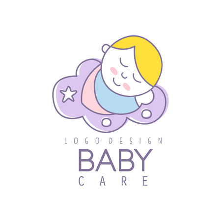 Baby care logo design, emblem with cute sleeping baby, label for kids club, baby or toys shop and any other children projects colorful vector Illustration