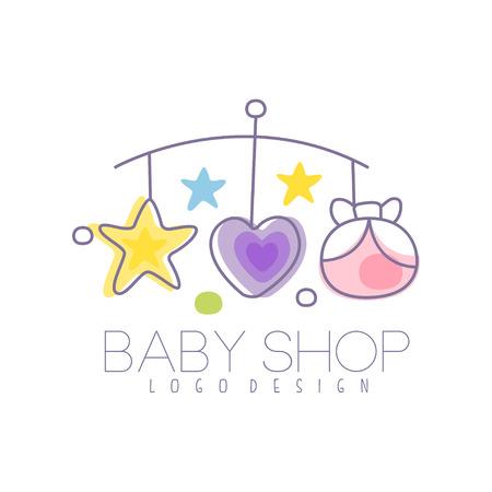 Babypflege-Logo-Design, Emblem mit Babybett Karussell, Label für Kids Club, Baby oder Spielzeug-Shop und andere Kinder Projekte. Bunte Vektor Illustration.
