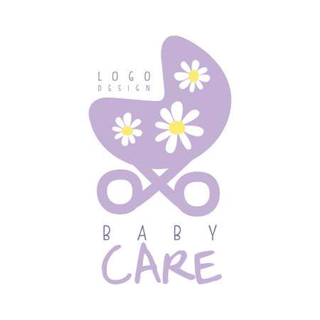 Baby care logo design, emblem with purple baby stroller, label for kids club, baby or toys shop. 向量圖像