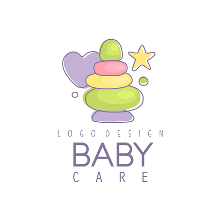 Baby care logo design, emblem with colorful pyramid toy, label for baby products store, toys shop and any other children projects vector Illustration
