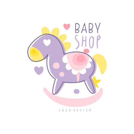 Baby shop logo design, emblem with rocking horse toy, label for baby products store, toys shop and any other children projects colorful hand drawn vector Illustration Illustration