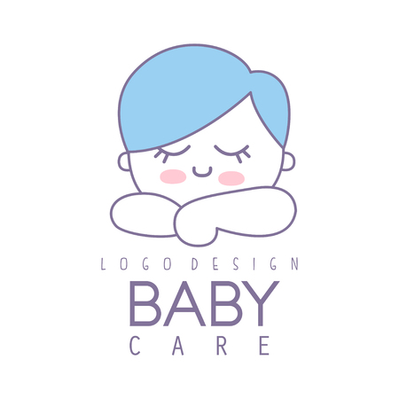 Baby care logo design, emblem with cute sleeping kid, label for kids club, baby or toys shop and any other children projects colorful vector Illustration