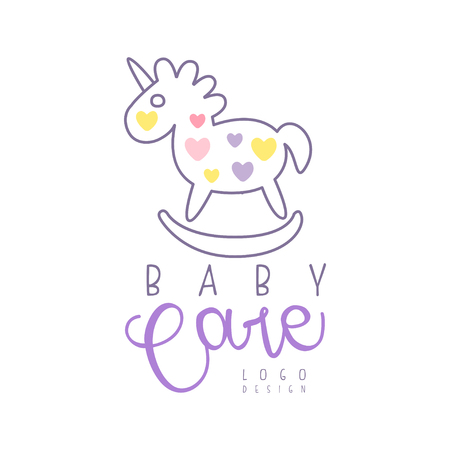 Baby care logo design, emblem with rocking horse toy, label for baby products store, toys shop and any other children projects colorful hand drawn vector Illustration