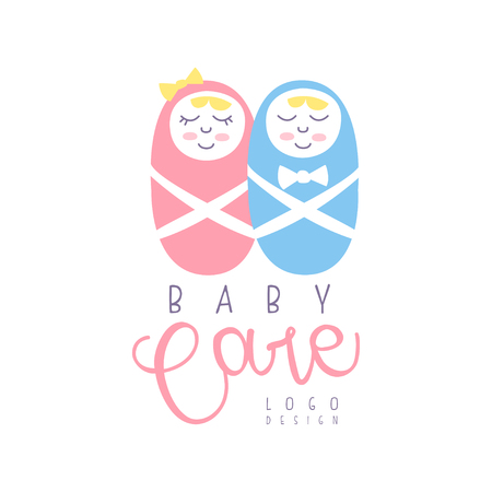 Baby care logo design, emblem with sleeping newborn babies, label for baby products store, toys shop and any other children projects colorful hand drawn vector Illustration