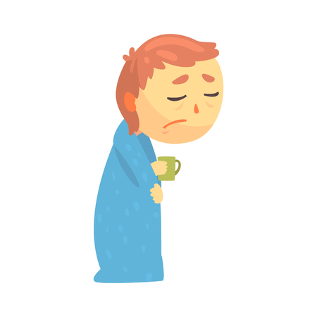 Sick boy character with flu wrapped in a blanket holding a cup cartoon vector illustration Çizim