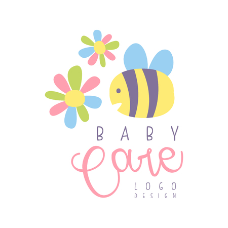 Baby care with bee and flower , label for kids club, baby or toys shop and any other children projects colorful hand drawn  Illustration Иллюстрация