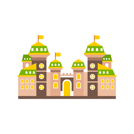 Colorful fortress or stronghold with fortified wall and towers, medieval building vector illustration