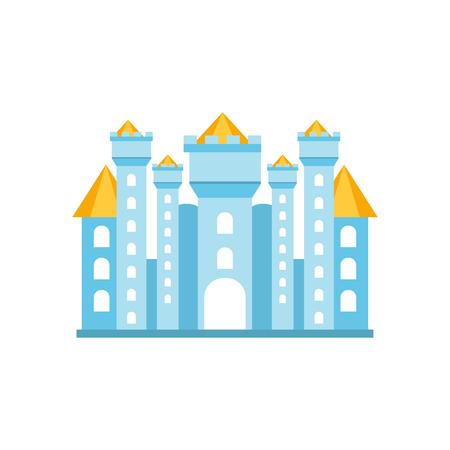 royals: Light blue fairytale royal castle or palace building vector illustration Illustration