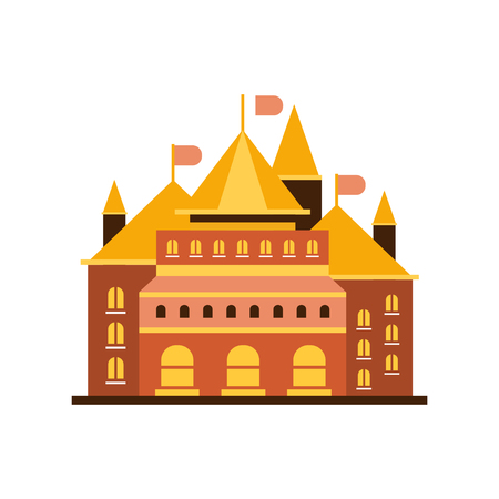 Fairytale royal castle or palace building with flags vector illustration Illustration
