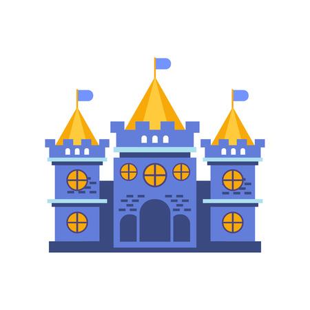 Blue fairytale royal castle or palace building vector illustration