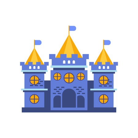 Blue fairytale royal castle or palace building vector illustration